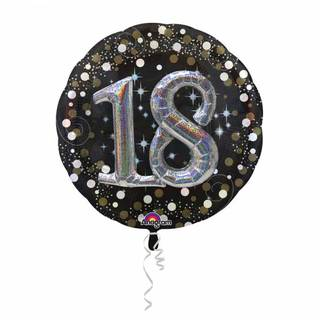 Folienballon 18 Sparkling Birthday Multi Balloon, 81 x 81 cm
