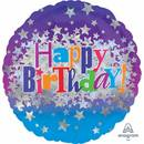 Folienballon Happy Birthday Bright Stars Standard Rund,...
