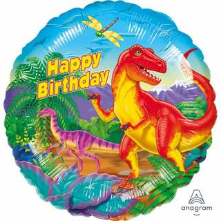 Folienballon Happy Birthday Prehistoric Party Standard Rund, 43 cm