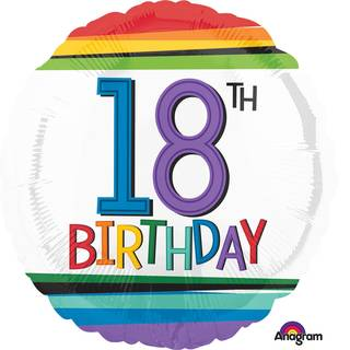 Folienballon 18 Birthday Rainbow Standard Rund, 43 cm