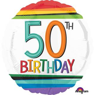Folienballon 50 Birthday Rainbow Standard Rund, 43 cm