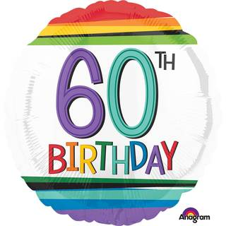 Folienballon 60 Birthday Rainbow Standard Rund, 43 cm
