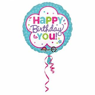 Folienballon Happy Birthday to you Mint-Weiß Standard Rund, 43 cm