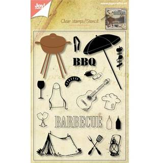 Clear Stamps+Stencil, Barbecue (BBQ), 18 - teilig