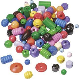 80 Holzperlen Perlen 8 mm Fädeln für Schnullerketten basteln Farbwahl