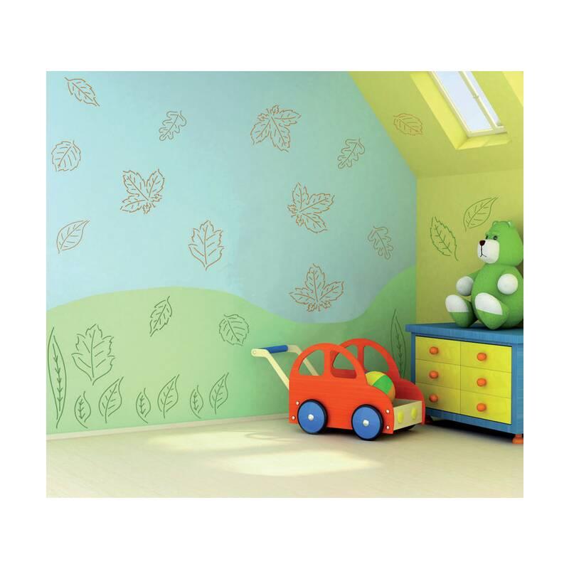 wandschablone bl tter vom kinderzimmer bis ins wohnzimmer trendige wandgestaltung einfach. Black Bedroom Furniture Sets. Home Design Ideas