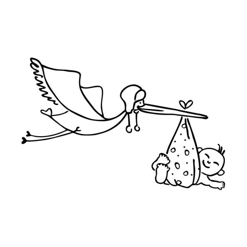 fliegender storch mit baby im schnabel als stempelmotiv. Black Bedroom Furniture Sets. Home Design Ideas
