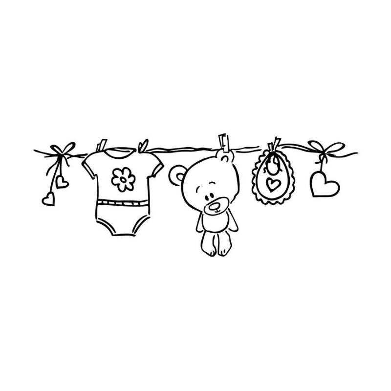 stempel mit wäscheleine an der süße babysachen hängen für