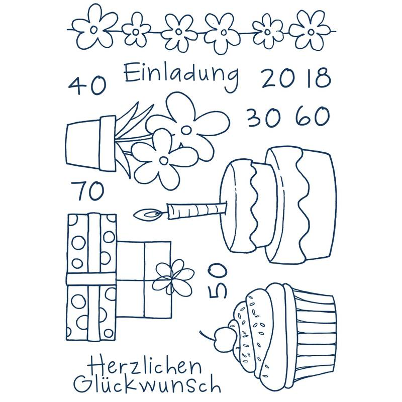 "A7// 74 x 105 mm Efco Stempel Clear ""Einladung 3"" 5-teilig transparent"