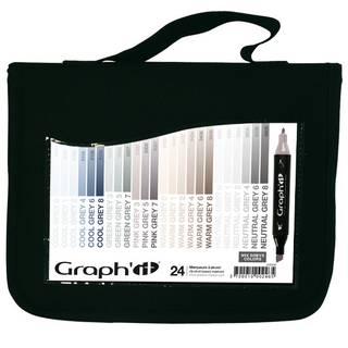 Graph It Alkohol Marker 24er Set in Mappe - Greys